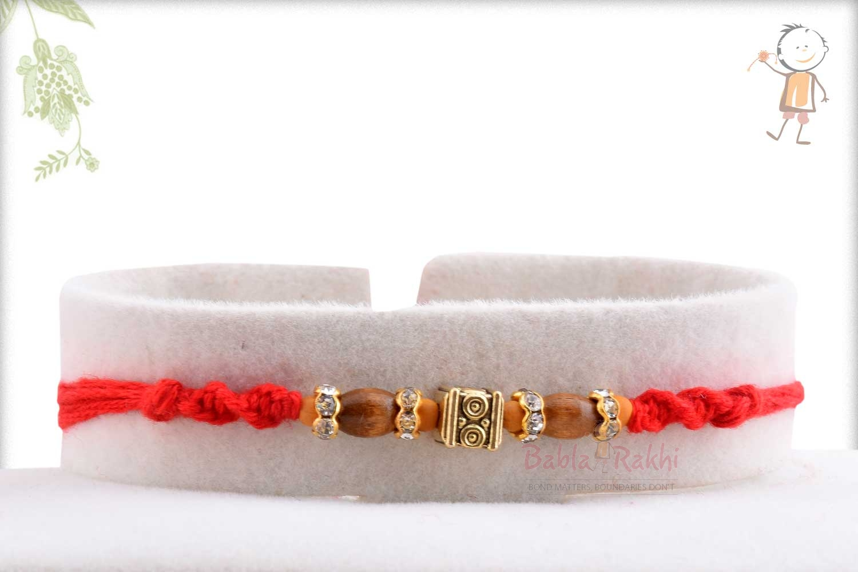 Designer Square Bead with Oval Sandalwood Beads Rakhi 1