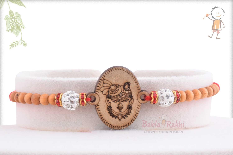 Beautiful Wooden Crafted Shreenathji Rakhi 1