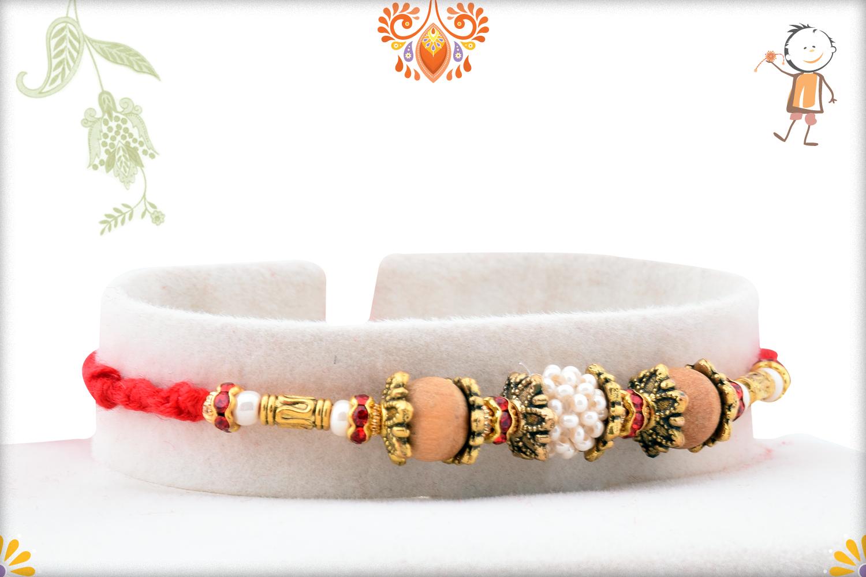 Trio Of White & Wooden Pearl Beads Rakhi 2