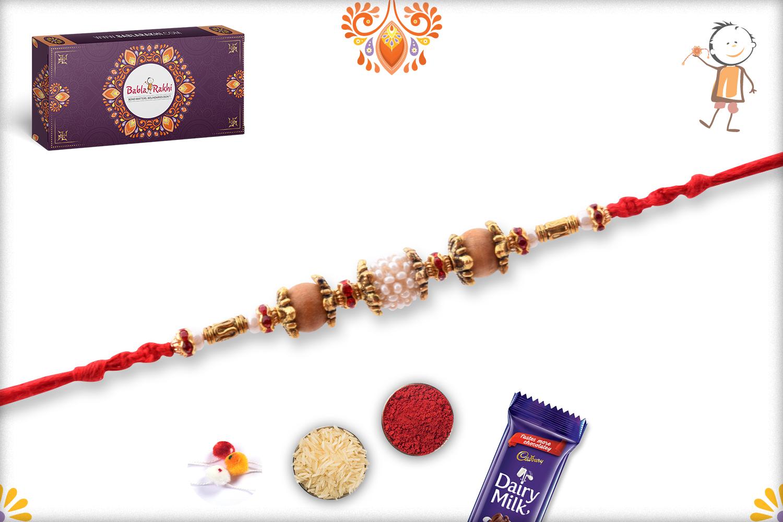 Trio Of White & Wooden Pearl Beads Rakhi 3