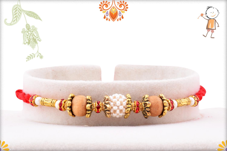 Trio Of White & Wooden Pearl Beads Rakhi 1