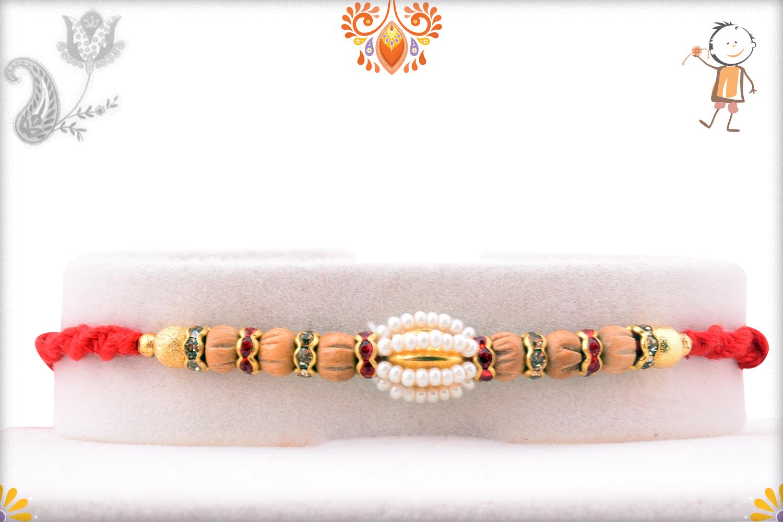 Oval Shape Unique White Pearl Design Rakhi 1