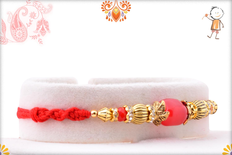 Simple Yet Elegant Red Pearl Rakhi 2