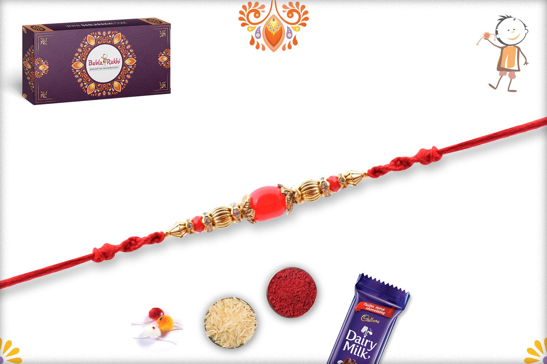 Simple Yet Elegant Red Pearl Rakhi 3