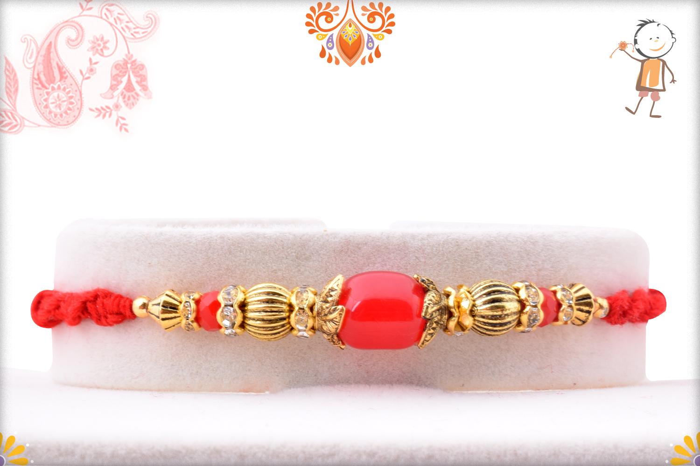 Simple Yet Elegant Red Pearl Rakhi 1
