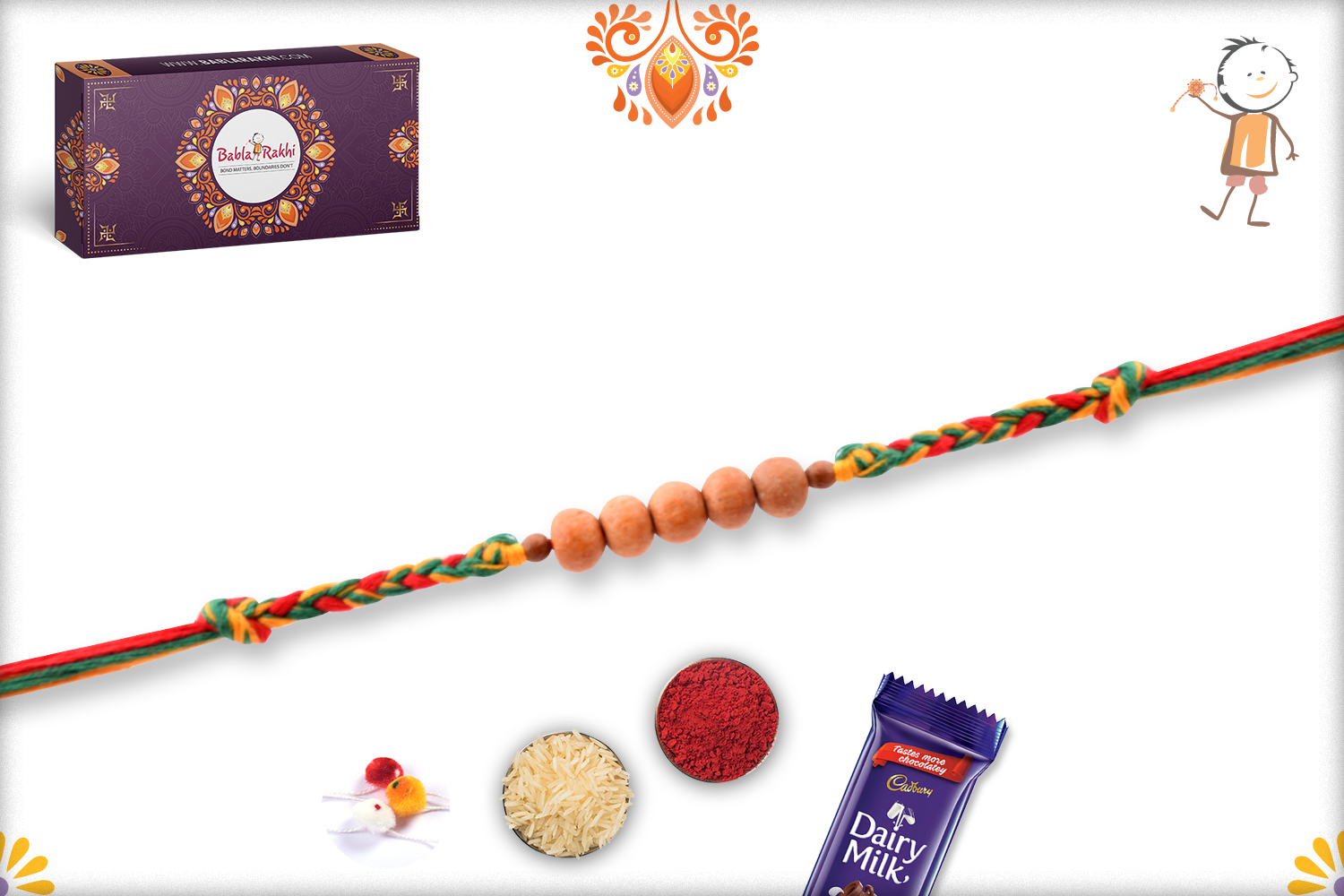 Eye Catching Golden Pearl Bead With Colorful Thread Rakhi 3