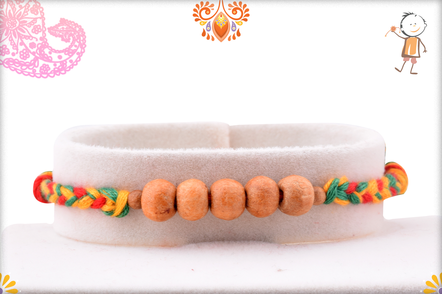 Eye Catching Golden Pearl Bead With Colorful Thread Rakhi 1