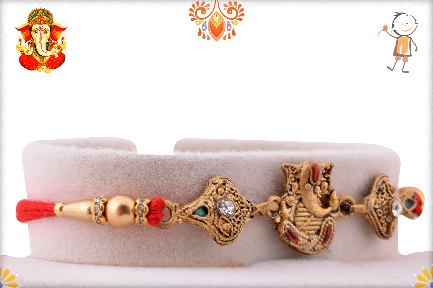 Red Crystal With Classic Look Rakhi 2