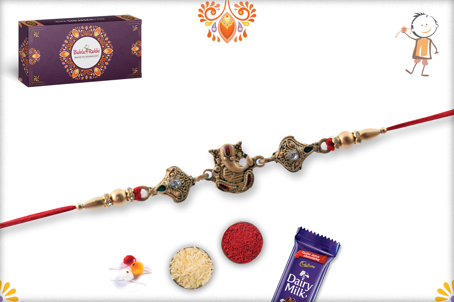 Red Crystal With Classic Look Rakhi 3
