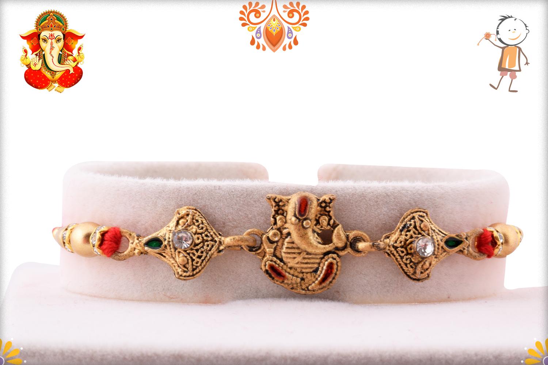 Spiritual Golden Ganpati Rakhi 1