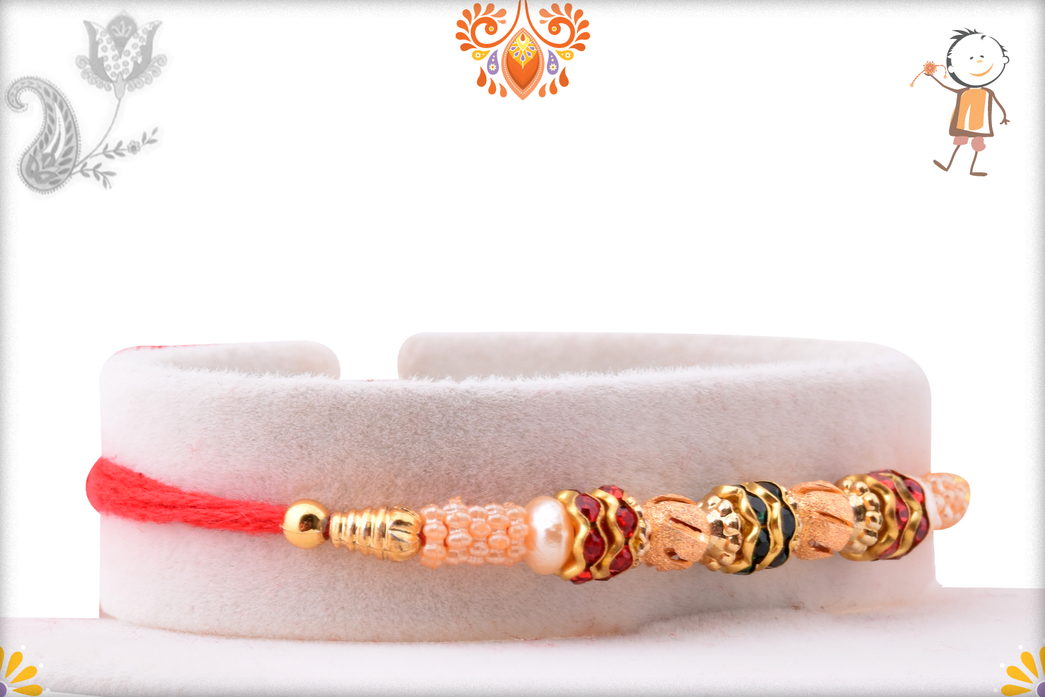 Fabulous Combination Of Red, Green And White Pearls Rakhi 2