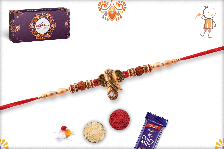 Powerful Combination Of Ganesh And Rudraksh Rakhi 3