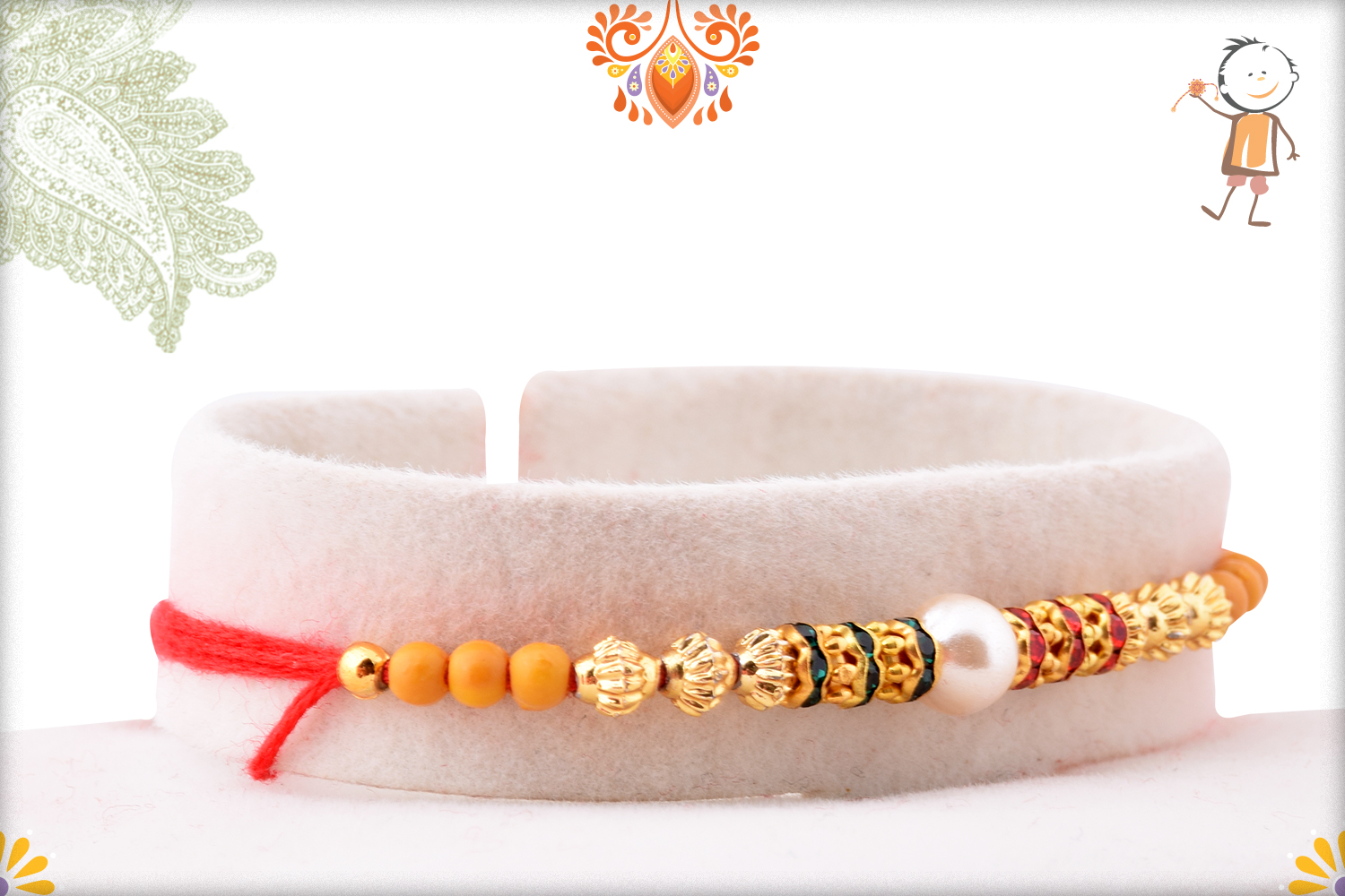 Delicate White Pearl With Gold Touch Rakhi 2