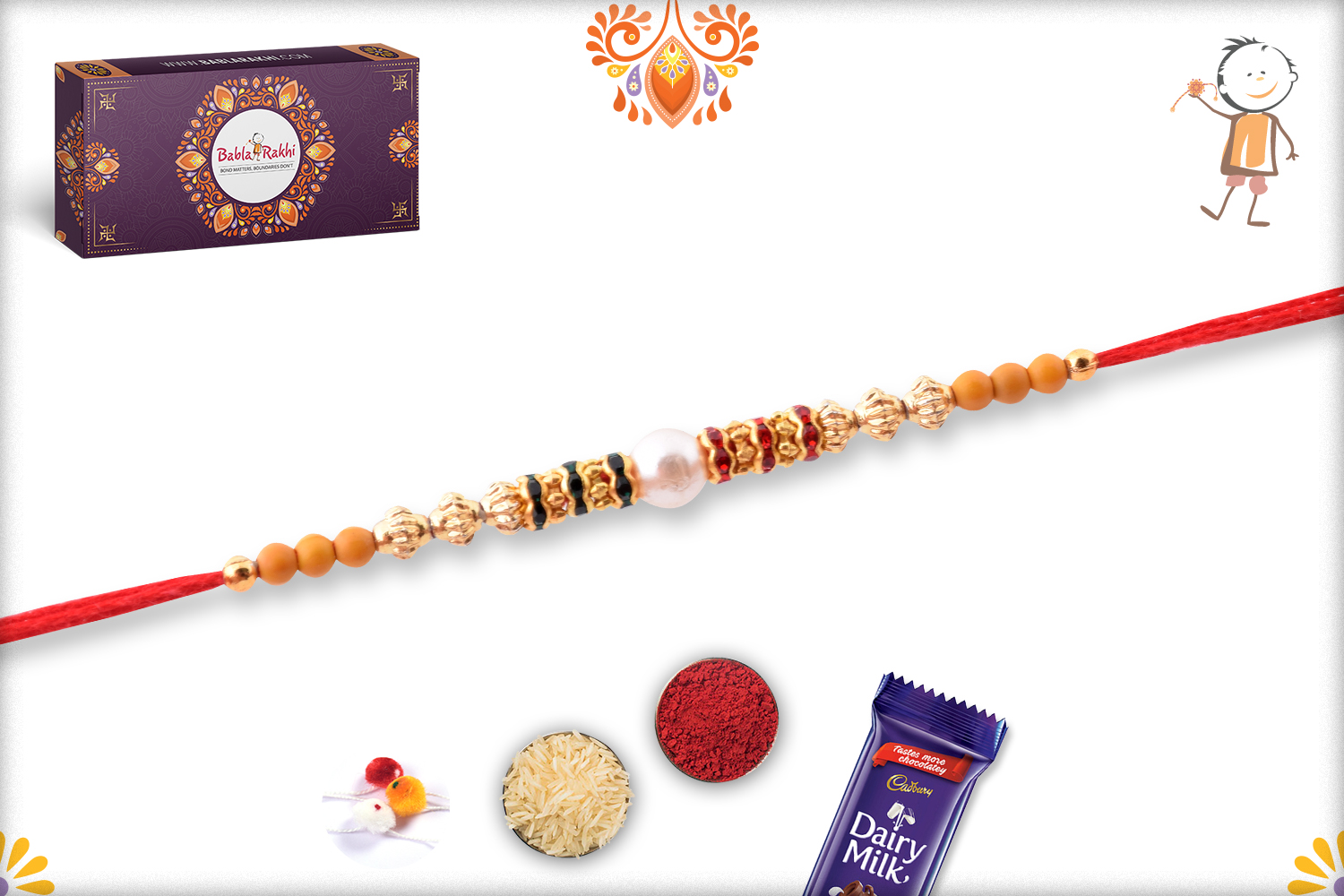 Delicate White Pearl With Gold Touch Rakhi 3