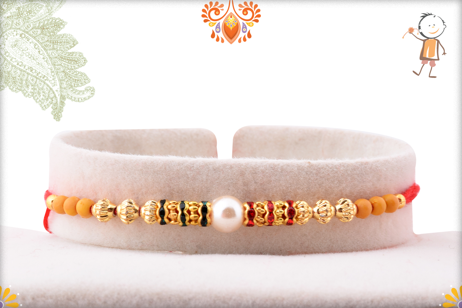 Delicate White Pearl With Gold Touch Rakhi 1
