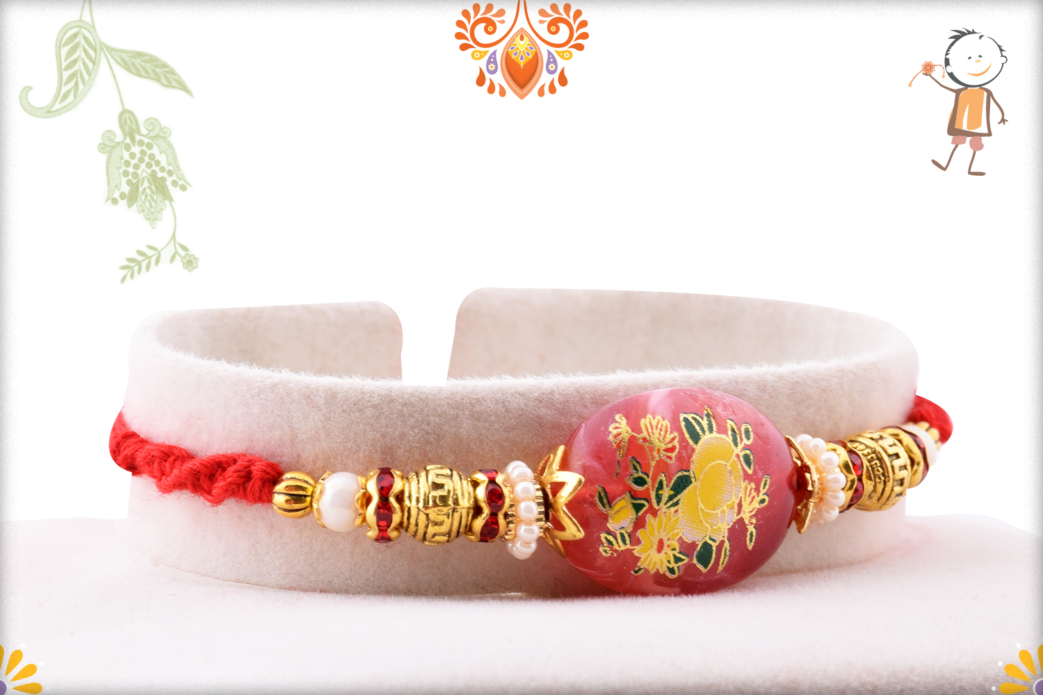 Unique Red Stone With Flower Art Rakhi 2
