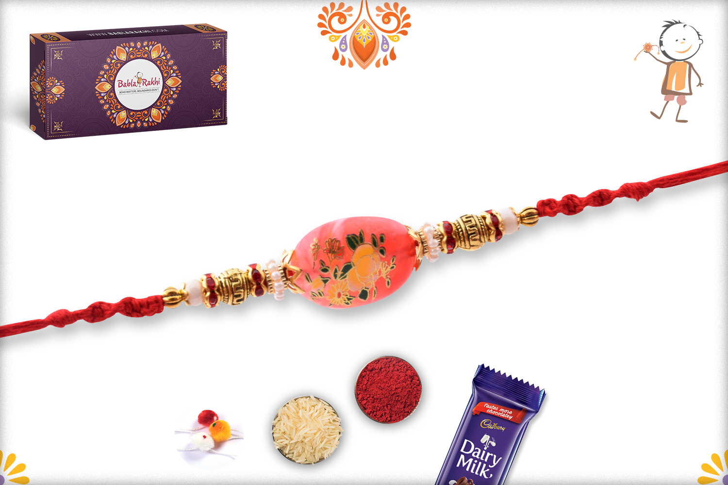 Unique Red Stone With Flower Art Rakhi 3