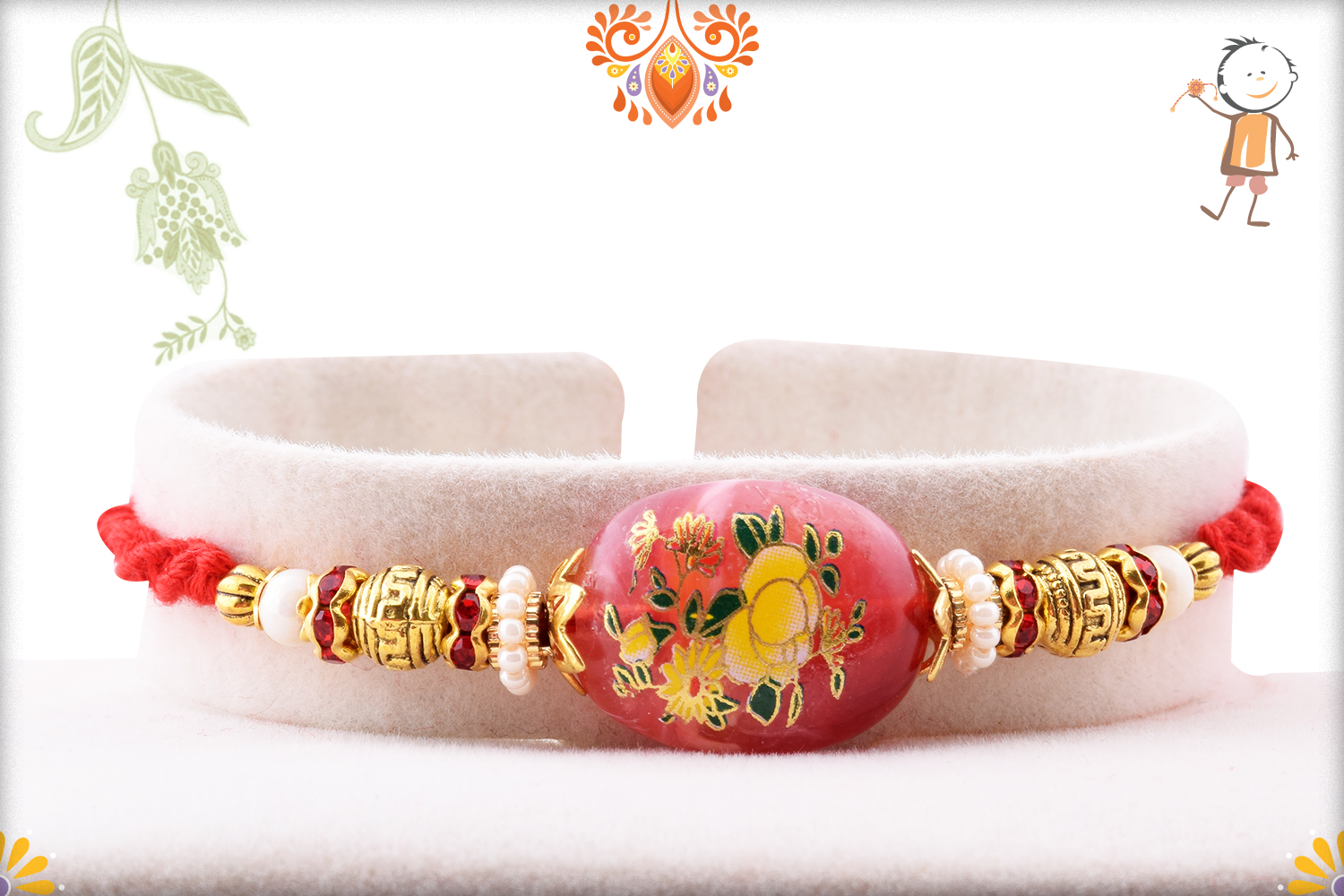 Unique Red Stone With Flower Art Rakhi 1