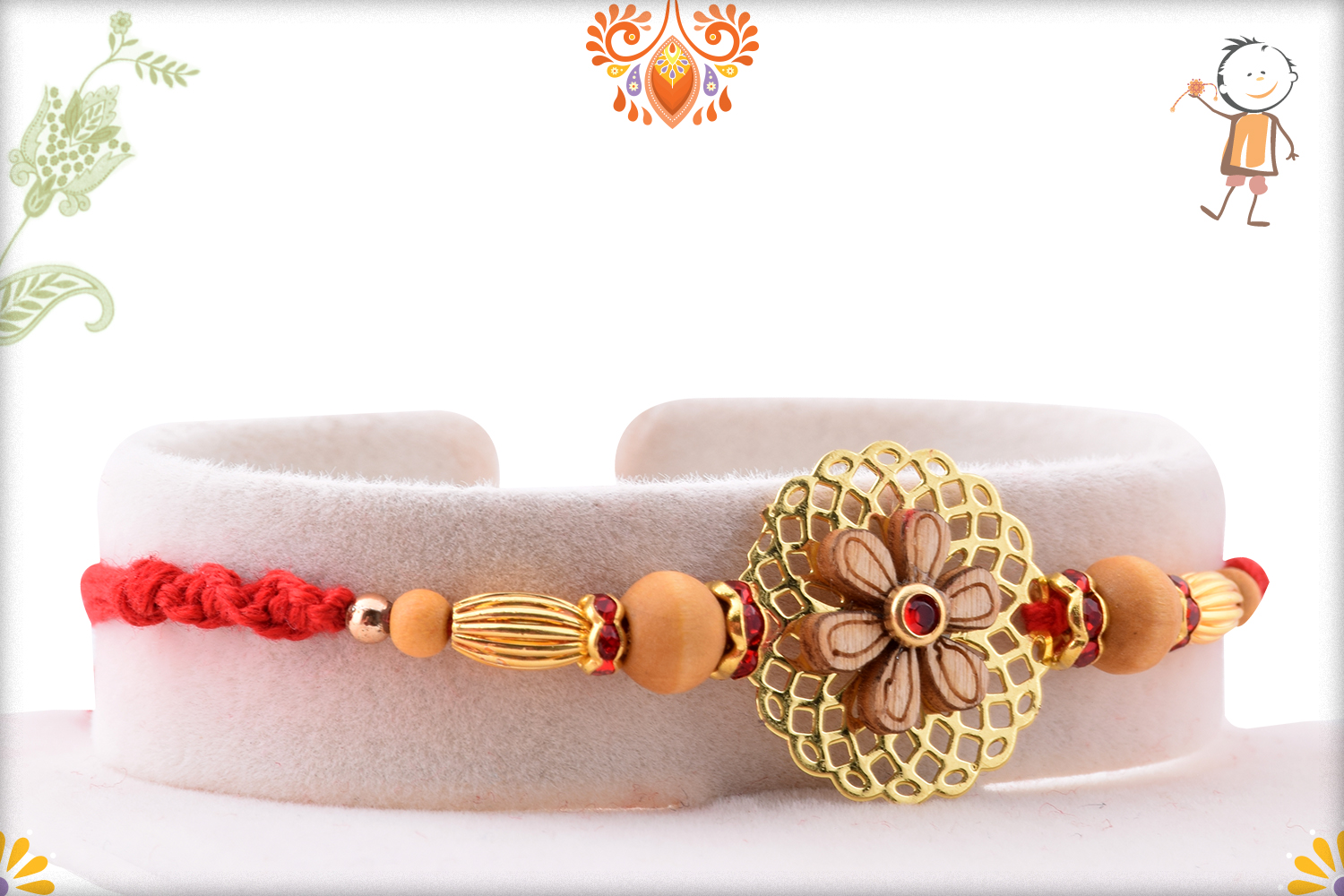 Simple Golden Flower With Wooden Pearl Rakhi 2