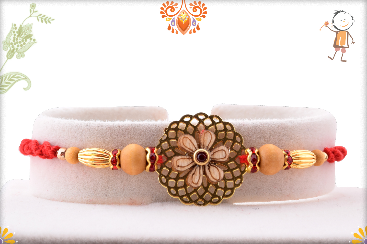 Simple Golden Flower With Wooden Pearl Rakhi 1