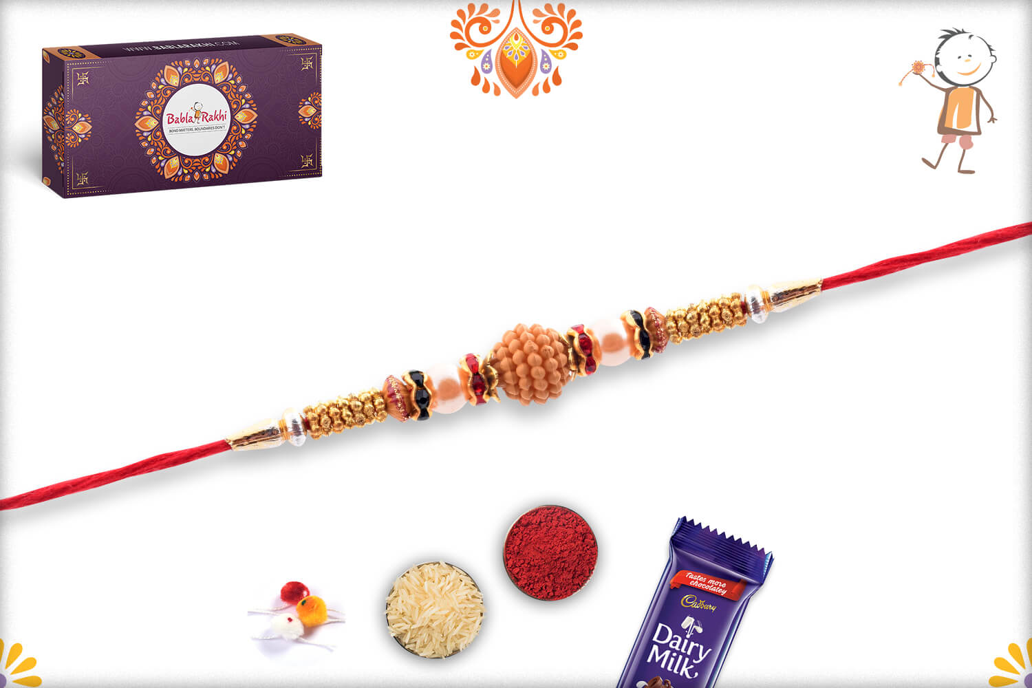 Unique Wooden Center with Pearl Beads Rakhi 2