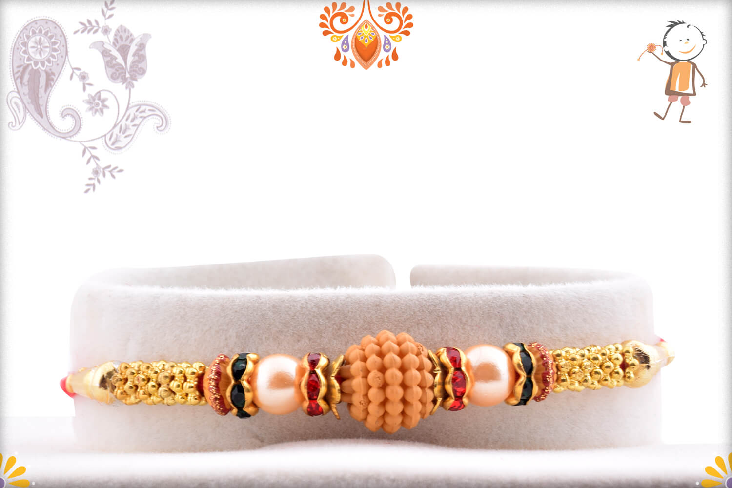 Unique Wooden Center with Pearl Beads Rakhi 1