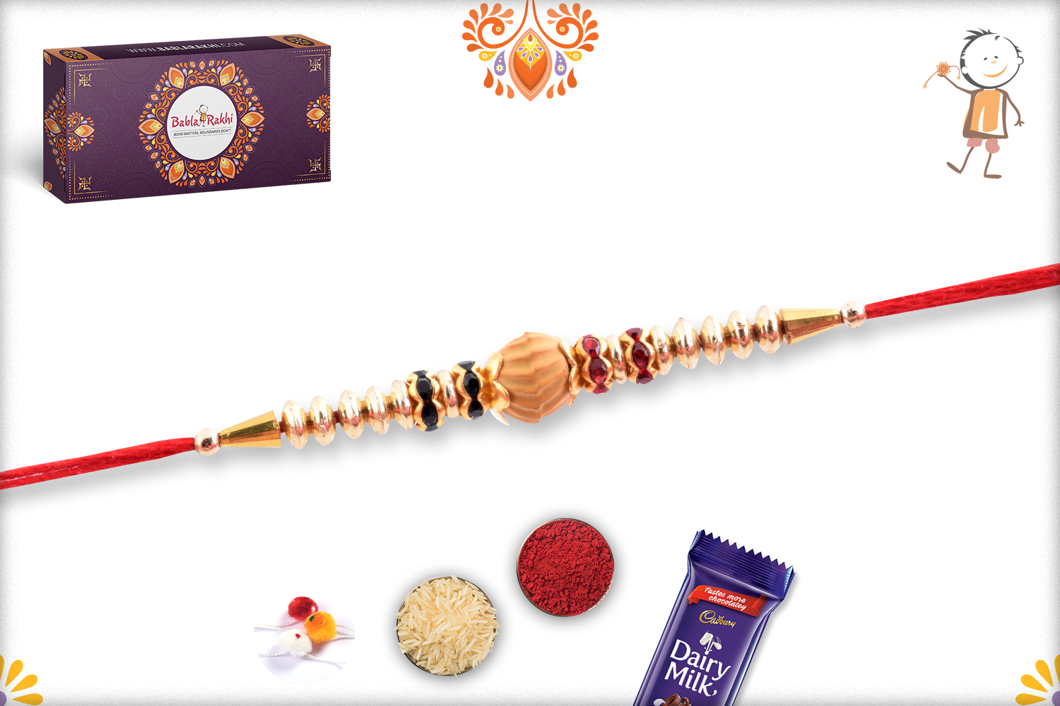 Unique Wooden Center With Gold Touch Rakhi 1