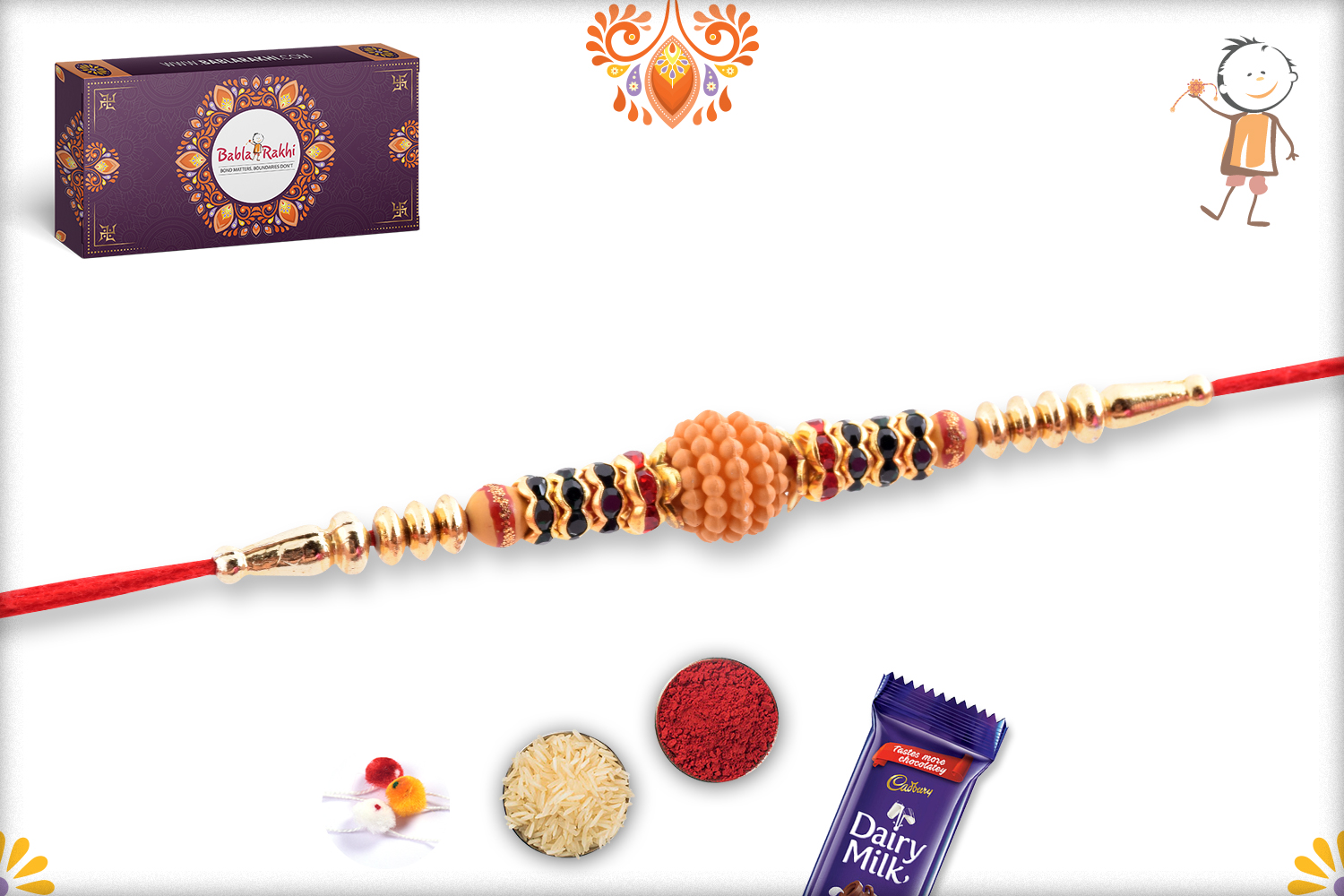 Classic Flower With Wooden Pearl Beads Rakhi 2