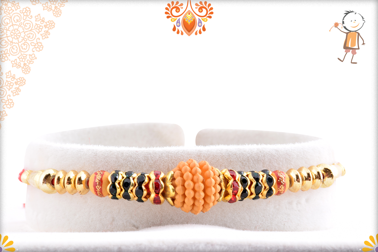 Classic Flower With Wooden Pearl Beads Rakhi 1
