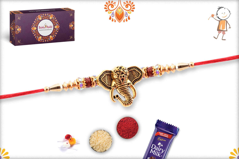 Golden Ganesha With Red Thread Rakhi 2