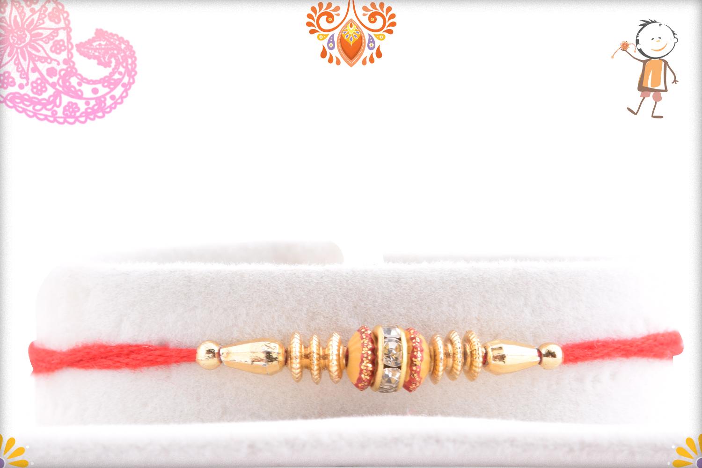 Simple Yet Beautiful Golden Rakhi 1
