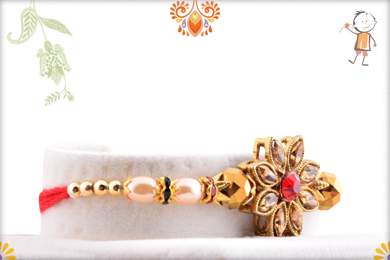 Exclusive Coper Color Stone Flower Rakhi 2