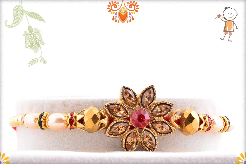 Exclusive Coper Color Stone Flower Rakhi 1