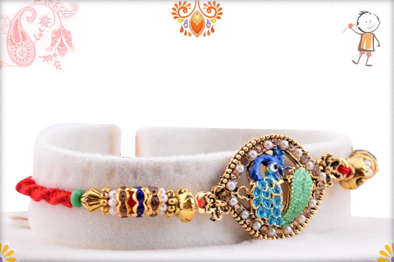 Antique Metalique Finish Peacock Rakhi With White Beads 2