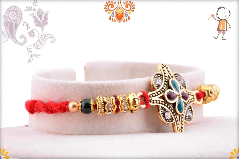 Metalique Designer Rakhi With Dual Color Flower In Center 2