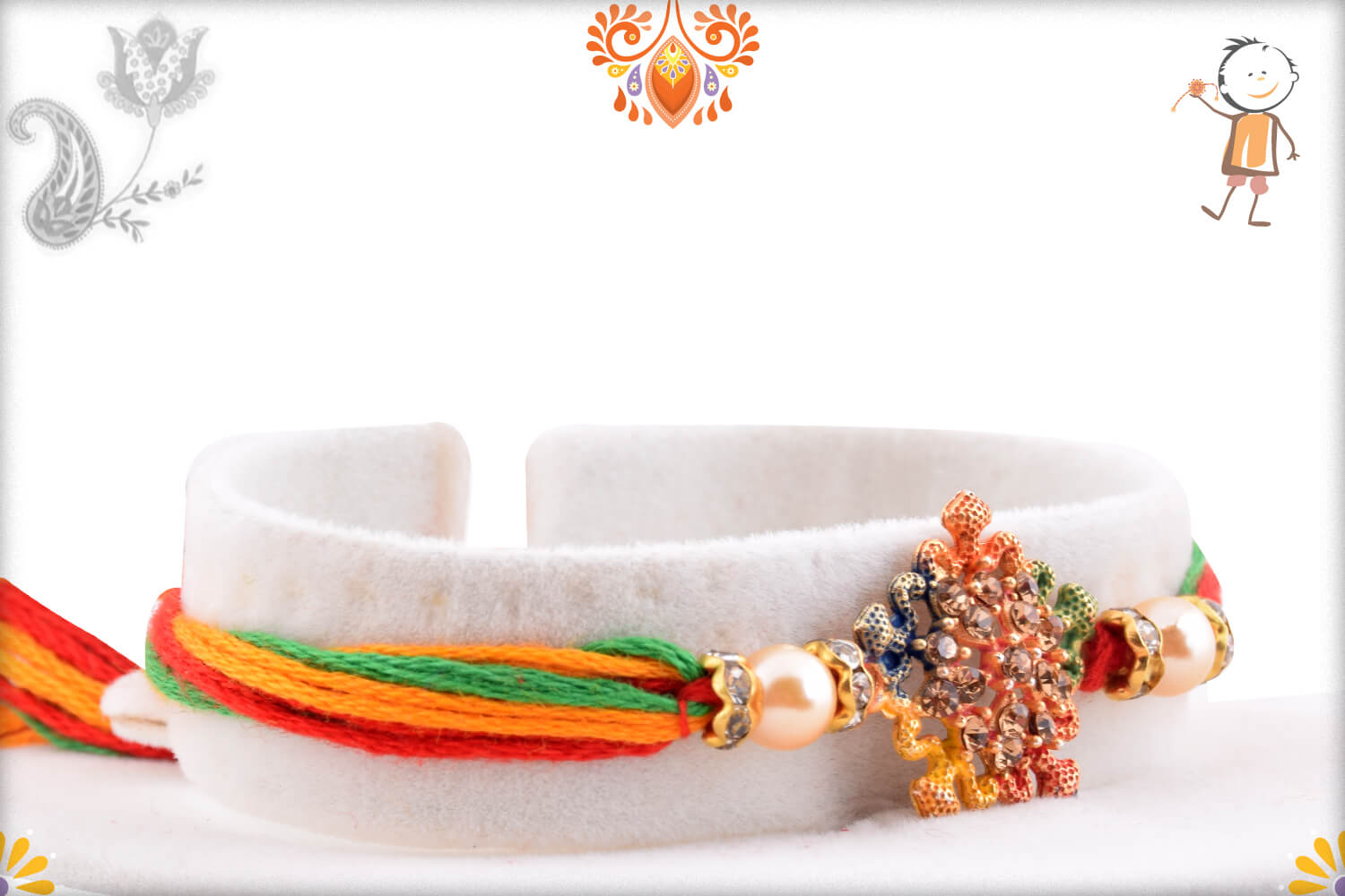 Enchanting Colorful Thread Rakhi With Colorful Mealique Design 2