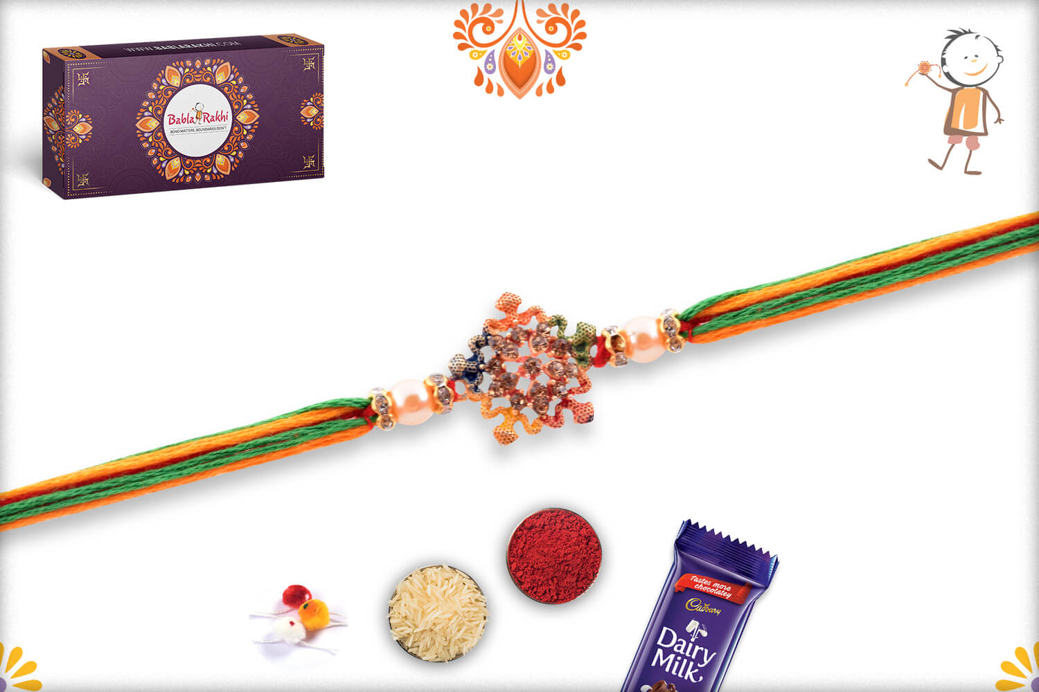 Enchanting Colorful Thread Rakhi With Colorful Mealique Design 3