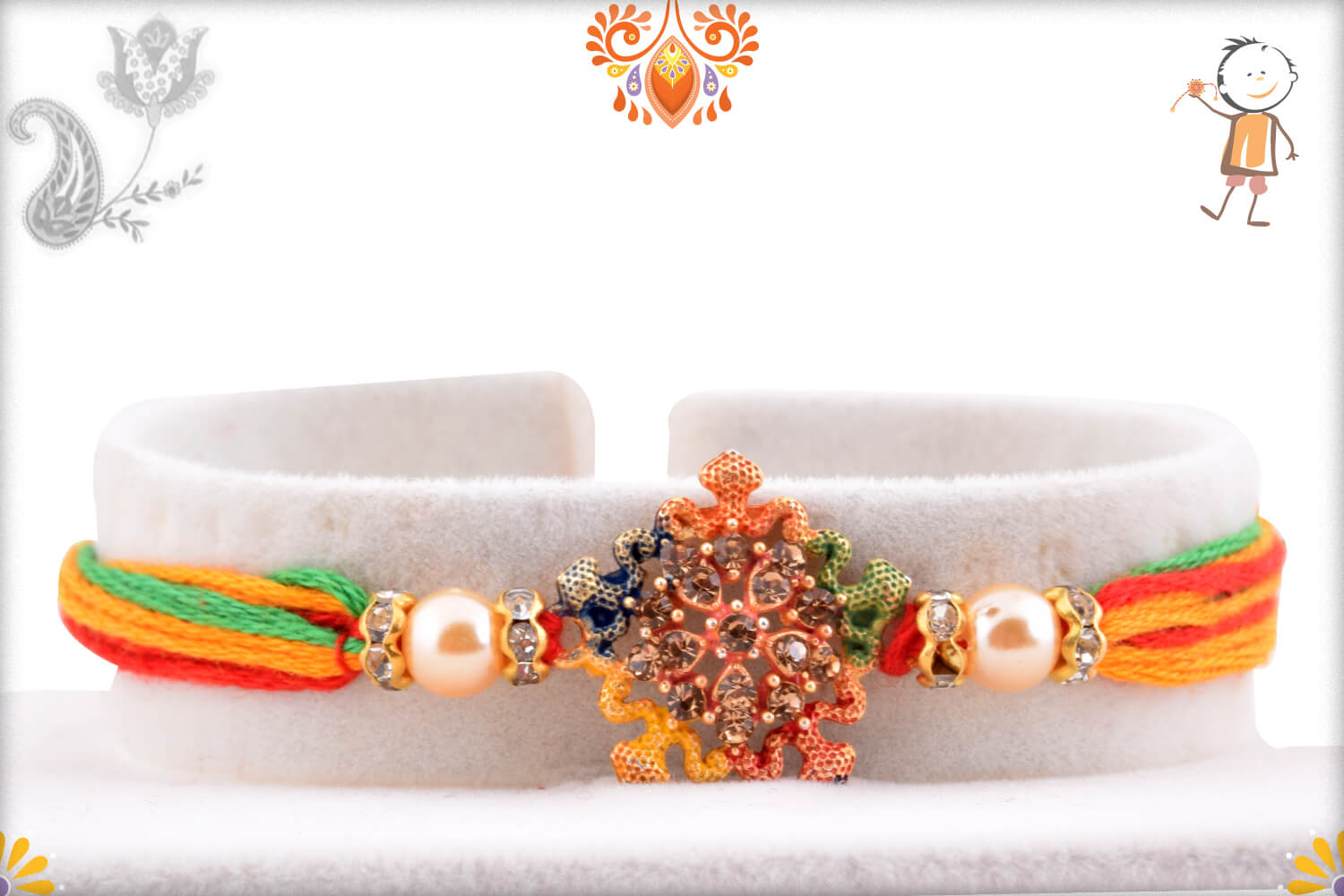 Enchanting Colorful Thread Rakhi With Colorful Mealique Design 1