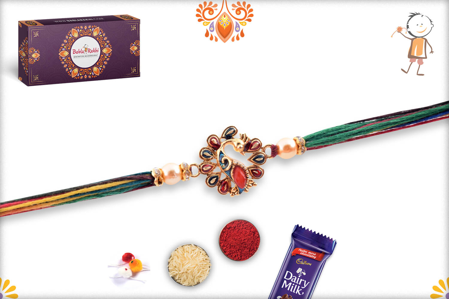 Stunning Golden Metalique Peacock With Colorful Thread Rakhi 2