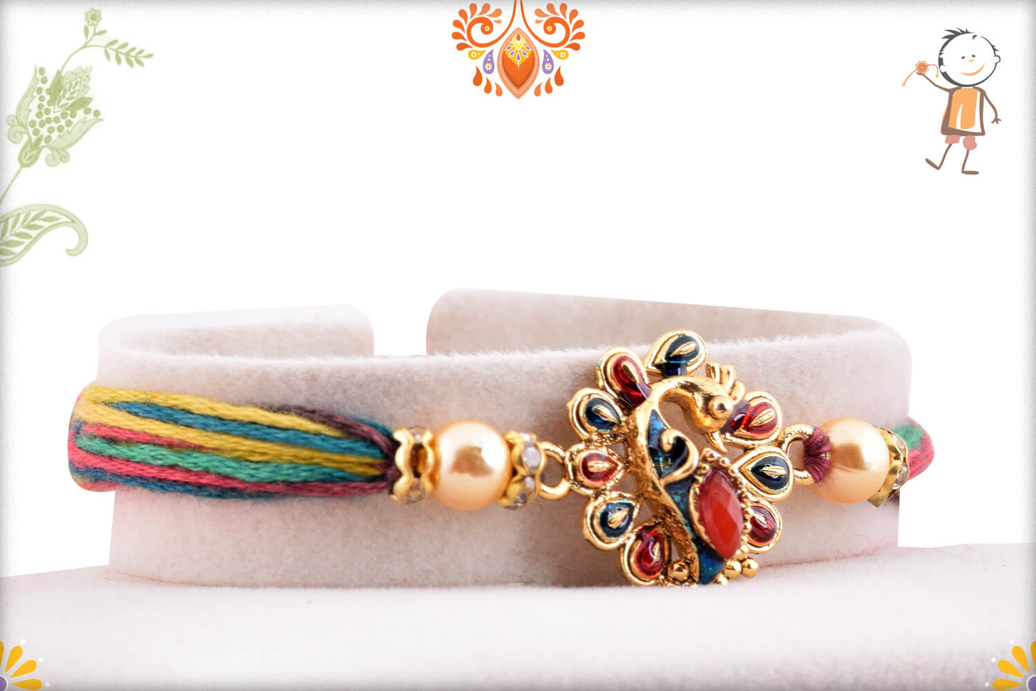 Stunning Golden Metalique Peacock With Colorful Thread Rakhi 1