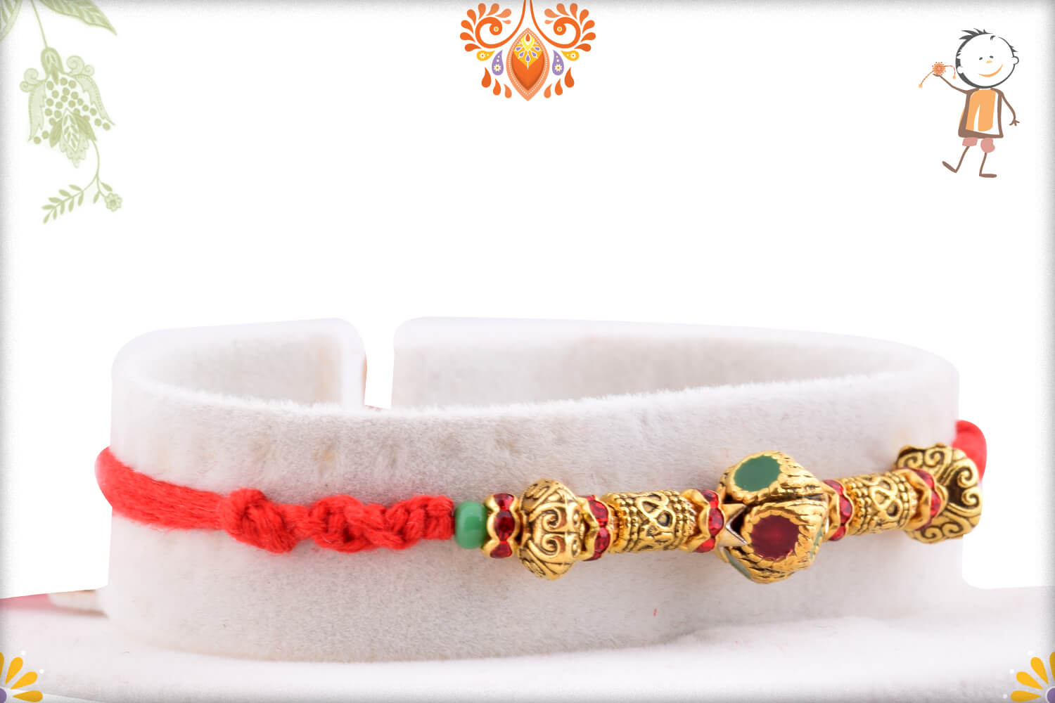 Enchanting Golden Finishing With Metalique Design And Red Thread Rakhi 2
