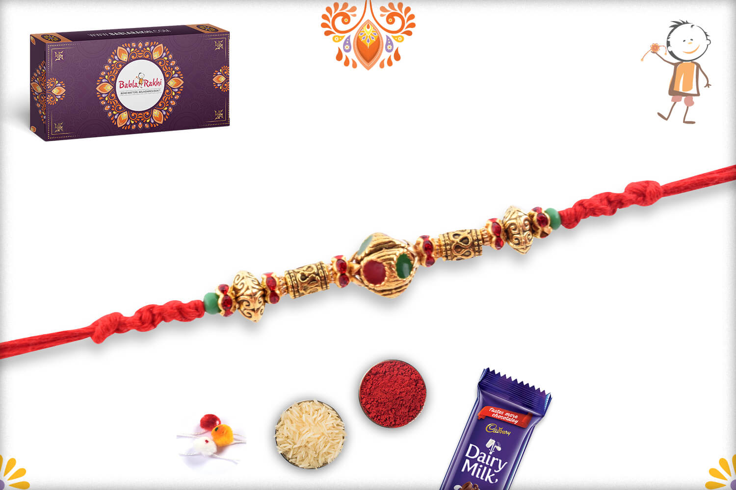 Enchanting Golden Finishing With Metalique Design And Red Thread Rakhi 3