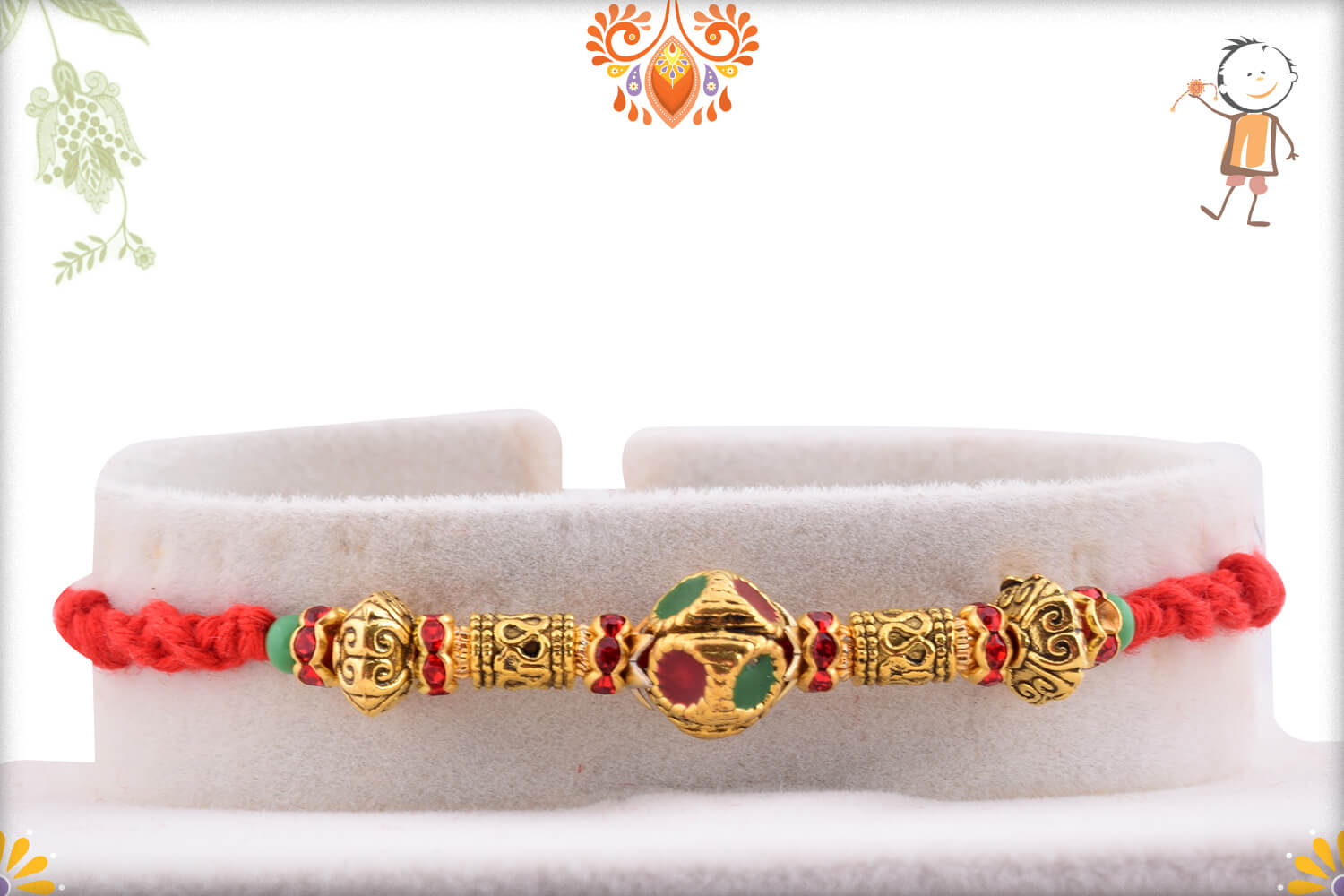 Enchanting Golden Finishing With Metalique Design And Red Thread Rakhi 1