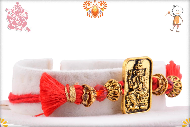 Metalique Ganesha Chabi With Designer Thread Rakhi 2