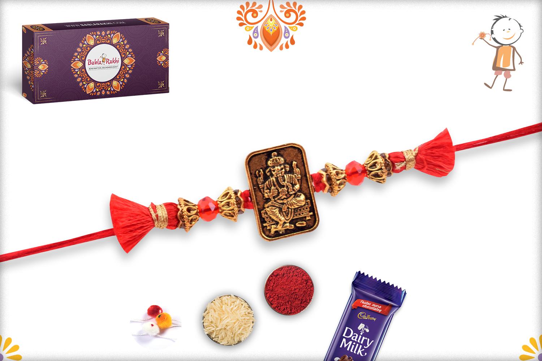 Metalique Ganesha Chabi With Designer Thread Rakhi 3