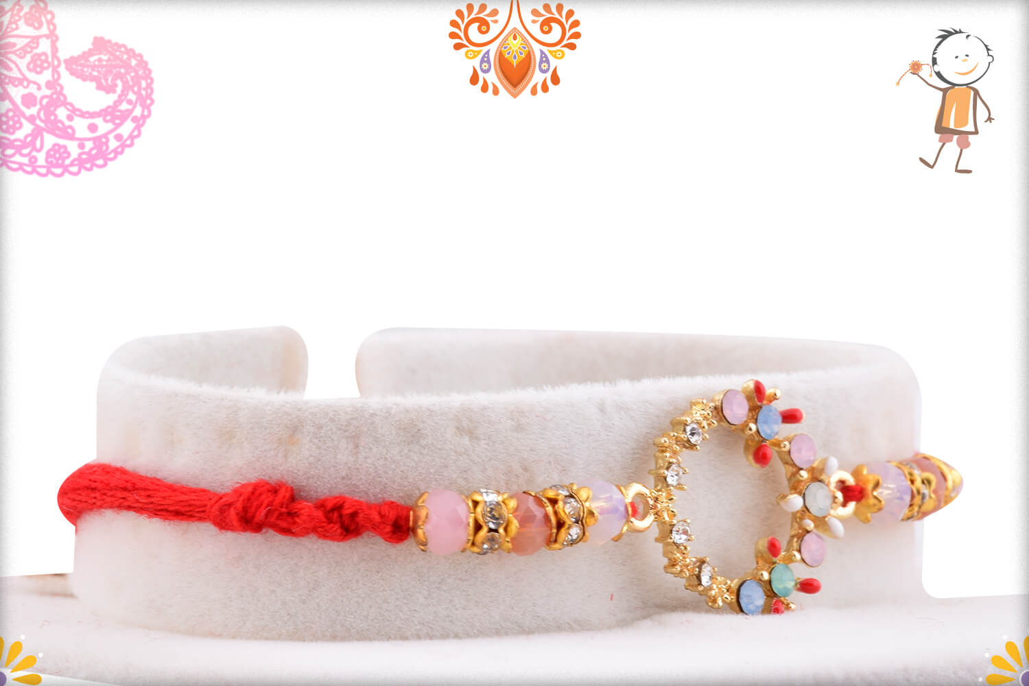 Dazzling Colorful Stone Flower Rakhi With Red Thread 2