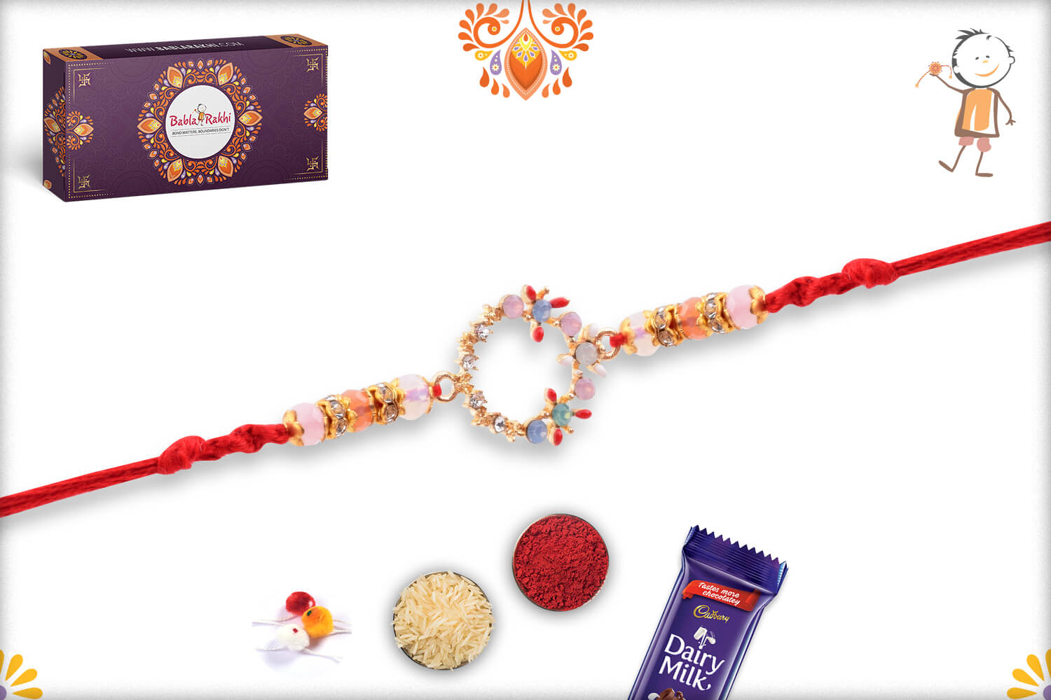 Dazzling Colorful Stone Flower Rakhi With Red Thread 3