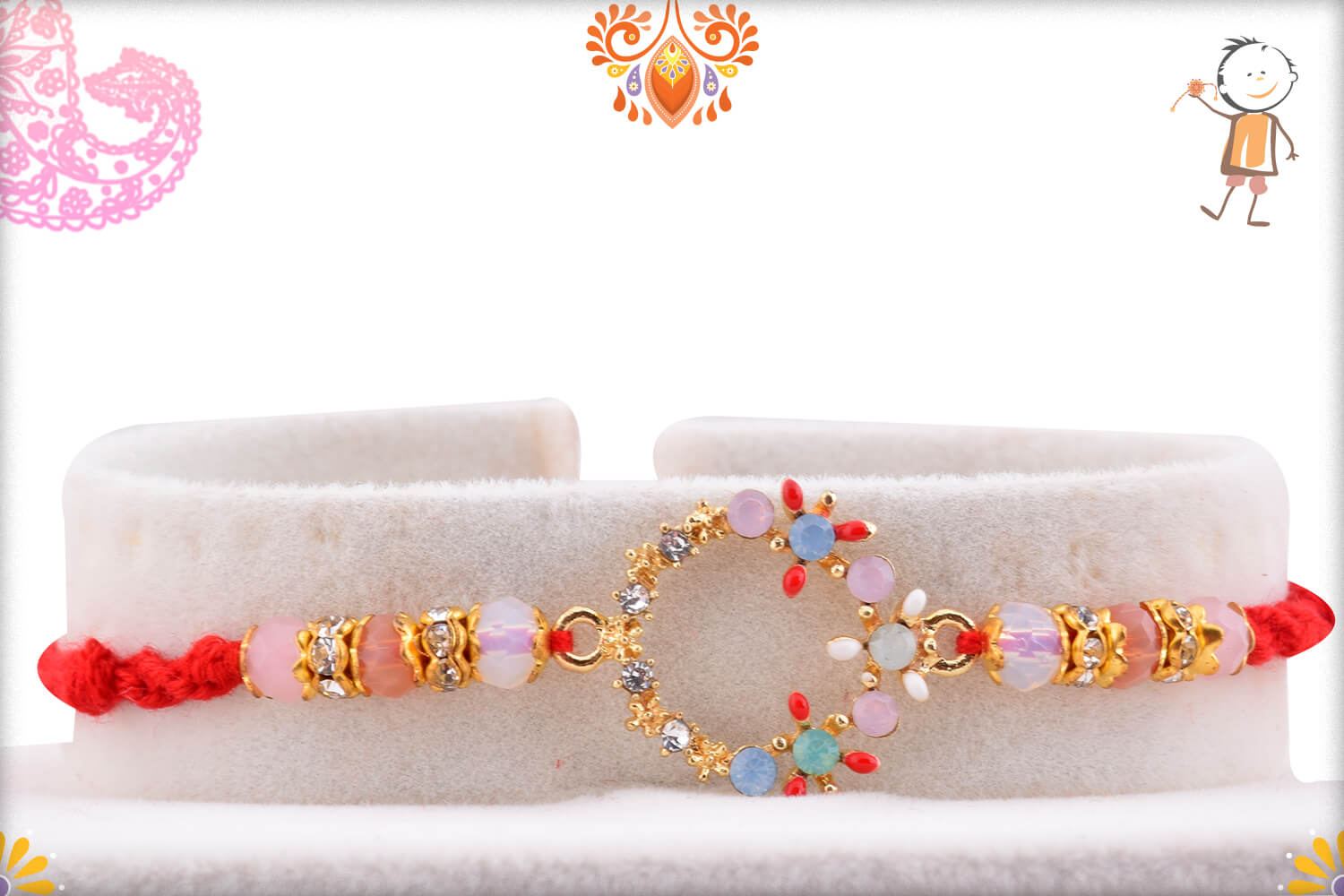 Dazzling Colorful Stone Flower Rakhi With Red Thread 1