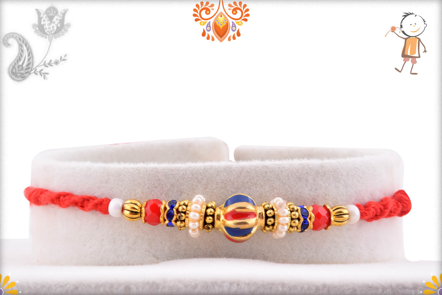 Simple Yet Beautiful Colorful Beads Rakhi With Designer Thread 1
