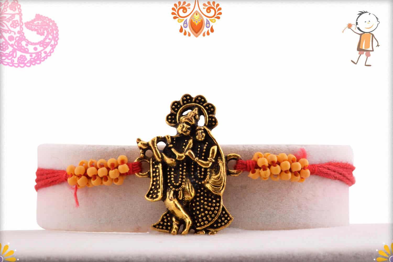 Beautiful Antique Radha-Krishna Rakhi with Small Beads - Babla Rakhi
